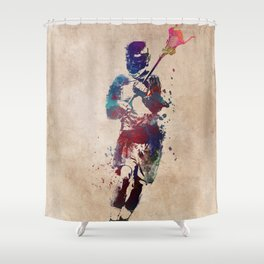 Lacrosse player art 2 Shower Curtain