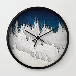 A Snowy Hike Wall Clock