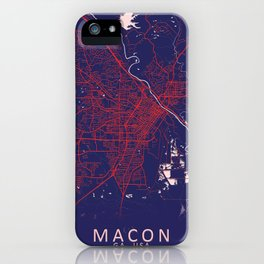 Macon, GA, USA, Blue, White, City, Map iPhone Case