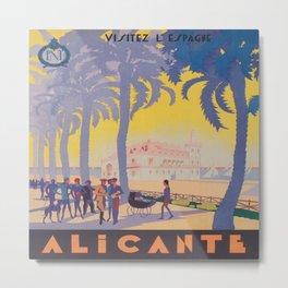 Alicante, Spain Vintage Travel Poster Metal Print