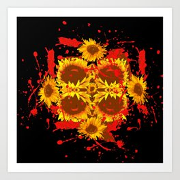 """SUNFLOWERS HAVING BLOODY GOOD TIME"" Art Print"