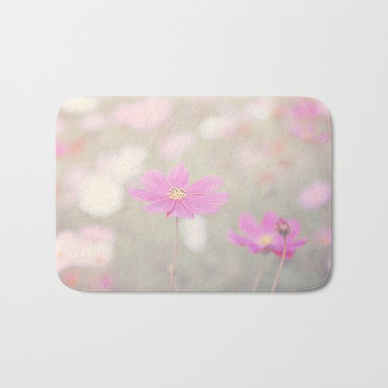 romantic flowers in soft pastel tones Bath Mat