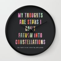 constellations Wall Clocks featuring Constellations by Sarah Turbin