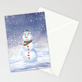 Christmas scene with snowman and house Stationery Cards