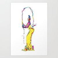 kardashian Art Prints featuring YELLOW KIM KARDASHIAN by The Draw Blurg