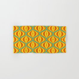 Retro Psychedelic Saucer Pattern in Orange, Yellow, Turquoise Hand & Bath Towel