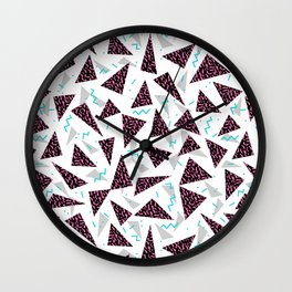 Trendy 80's style geometric triangle retro cool neon pattern art print affordable college dorm decor Wall Clock