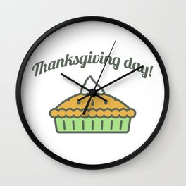 Happy Thanksgiving Day Pie Design Wall Clock
