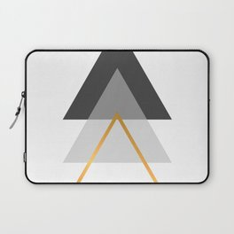 Triangles art, Black, white and gold Laptop Sleeve