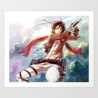 mikasa Art Prints featuring Snk-Mikasa by Gin-Uzumaki