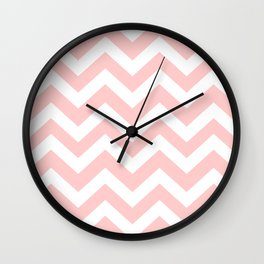 Light red - pink color - Zigzag Chevron Pattern Wall Clock