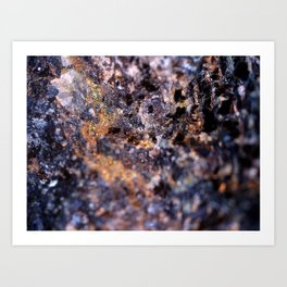 Gold & Blue Rock Art Print