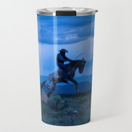 Santa Fe Cowboy Being Bucked Off Travel Mug