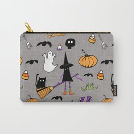 Cute #Halloween Witch and Friends Grey Carry-All Pouch
