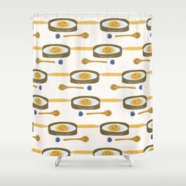 Cute vector pancake day breakfast illustration. Seamless repeating pattern. Shower Curtain