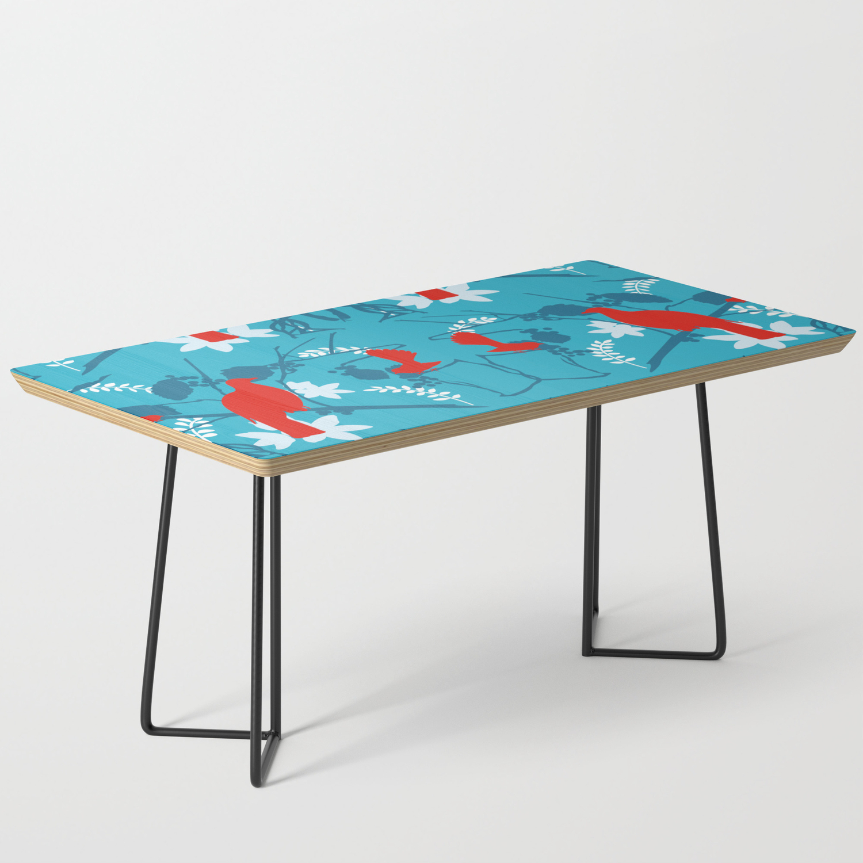 Nz Native Red Kereru Wood Pigeon And Fantail On Blue Coffee Table By Designbycheyney