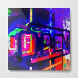 OPEN neon sign with pink purple red and blue painting abstract background Metal Print