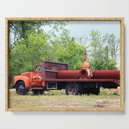 Rusty Old Work Truck Serving Tray