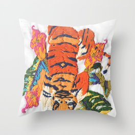 TIGER embroidery Throw Pillow
