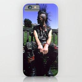 Punk Rock Musician Relaxing on Garden Bench iPhone Case
