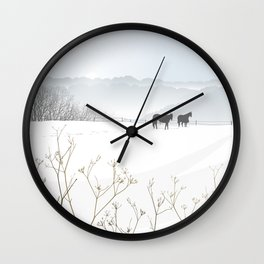 Horses above the mist Wall Clock