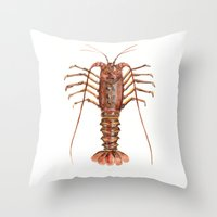 lobster Throw Pillows featuring Lobster by Anastasiya Zhulina