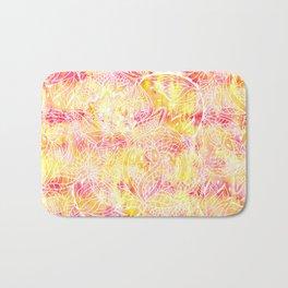 Modern pink orange tie die watercolor pattern white hand drawn floral mandala pattern Bath Mat