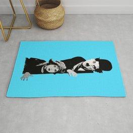 Chaplin and the kid - turquoise Rug