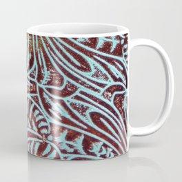 Light Blue & Brown Tooled Leather Coffee Mug