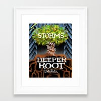 "dolly parton Framed Art Prints featuring Dolly Parton Quote - ""Storms make trees take deeper Root"" by Michaela K."