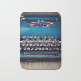 Vintage Blue Typewriter Bath Mat