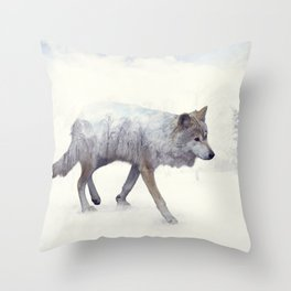 Double exposure of wolf in the winter woods Throw Pillow