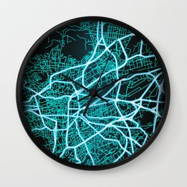 Clermont-Ferrand, France, Blue, White, Neon, Glow, City, Map Wall Clock