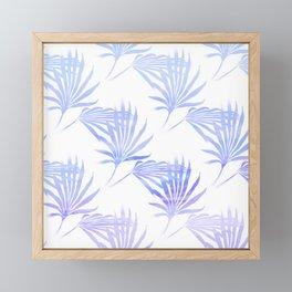 Palmetto Leaf Fronds Print Blue Framed Mini Art Print