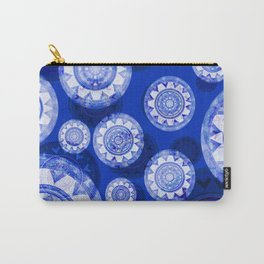 Deepest Blue Floating Vintage Boho Mandala Print Carry-All Pouch