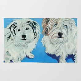 Two White Pups Dog Portrait Rug