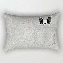 Pocket Boston Terrier - Black Rectangular Pillow