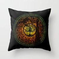 gondor Throw Pillows featuring Tree of Gondor Stained Glass by Mazuki Arts