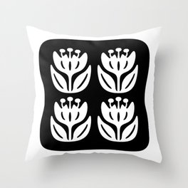 Mid Century Modern Flower Composition 241 Black and White Throw Pillow