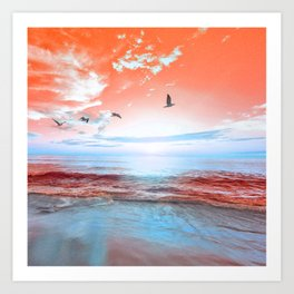 The Orange Sunrise in Sea Side Art Print
