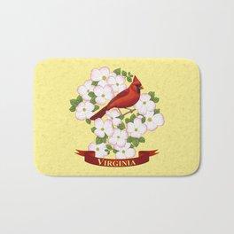 Virginia State Cardinal Bird and Flowering Dogwood Bath Mat