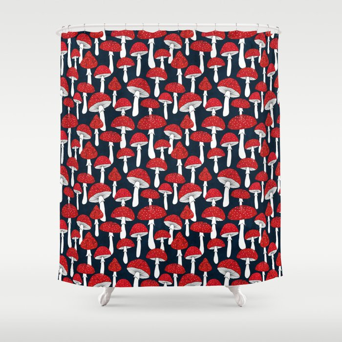 Red mushrooms field on navy blue Shower Curtain by imali   Society6