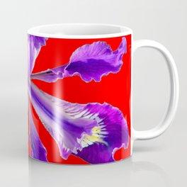 AMETHYST  PURPLE DUTCH IRIS FLOWER ON RED DESIGN Coffee Mug