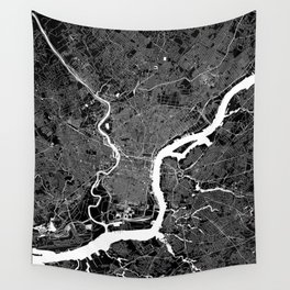 Philadelphia Black And White Map Wall Tapestry