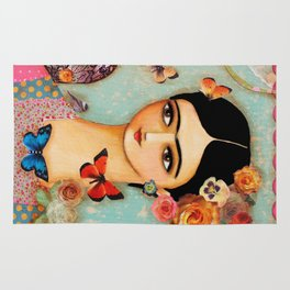 Frida Collage with Butterfly and Rose Rug