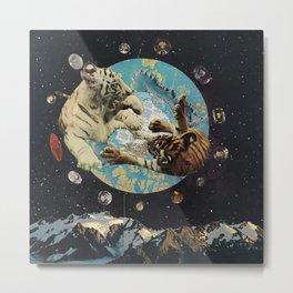 Tigers in Space Metal Print