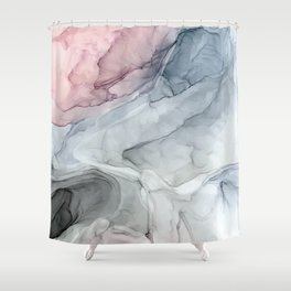 Pastel Blush, Grey and Blue Ink Clouds Painting Shower Curtain