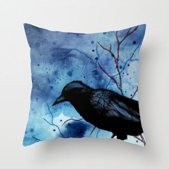 Crow Veins Watercolor/Pen & Ink Throw Pillow