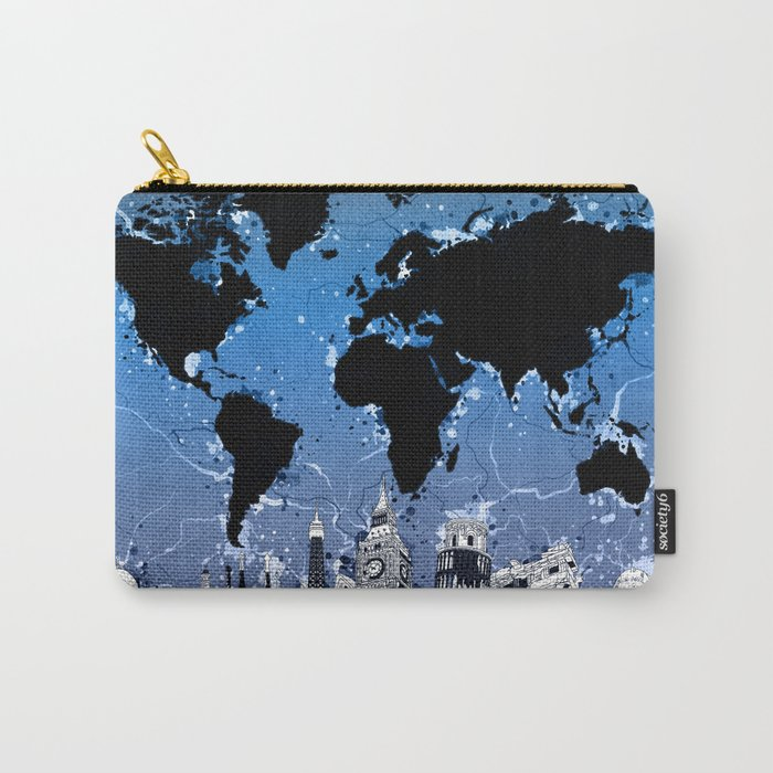 world map city skyline 8 Carry-All Pouch