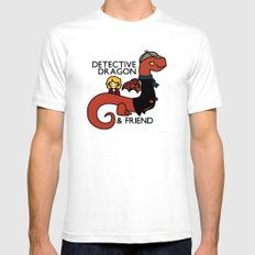 detective dragon & friend - sherlock hobbit parody Mens Fitted Tee White SMALL